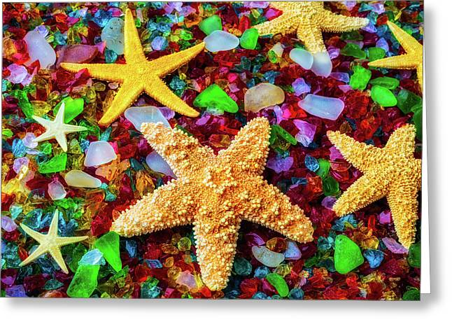 Starfish On Sea Glass Greeting Card by Garry Gay