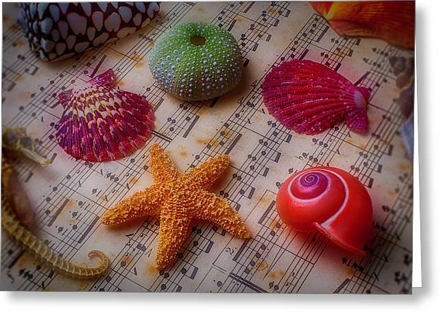 Starfish On Sheet Music Greeting Card