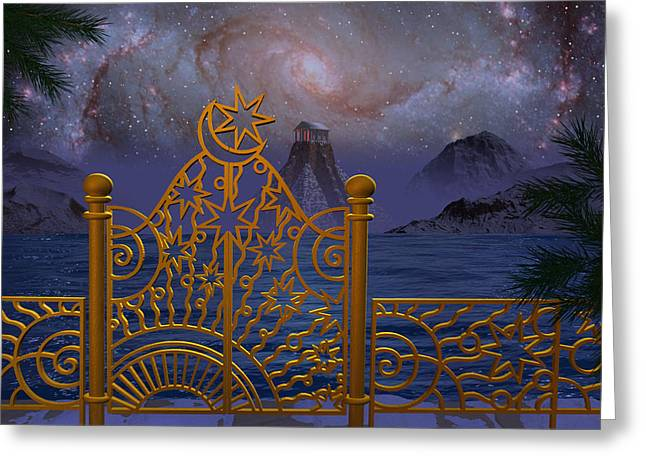 Stargate-temple-galaxy Greeting Card by Terry Anderson