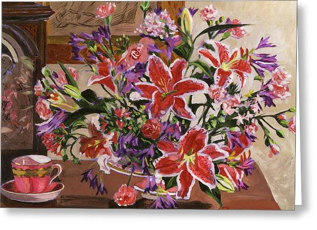 Stargazer Lilies Greeting Card by David Lloyd Glover