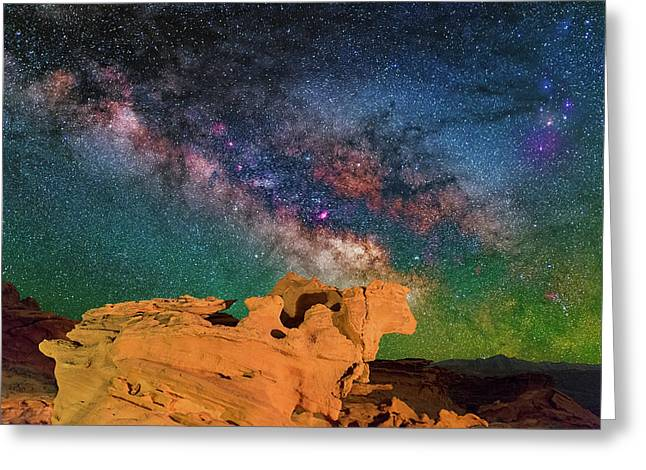 Stargazing Bull Greeting Card