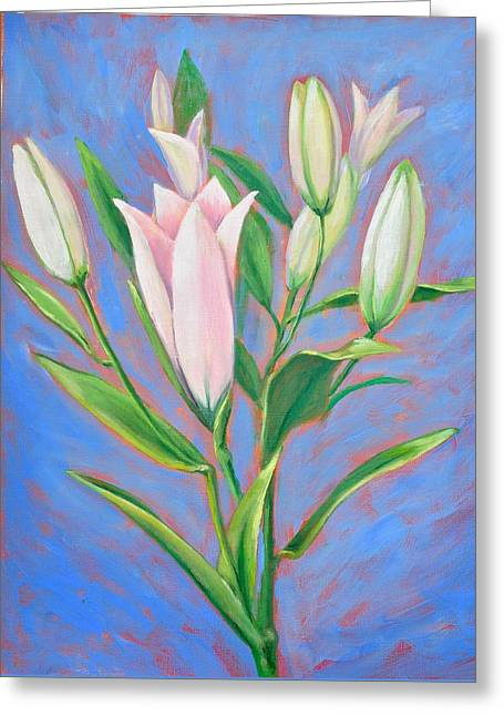 Stargazing Lilies Greeting Card by Linda Wilson