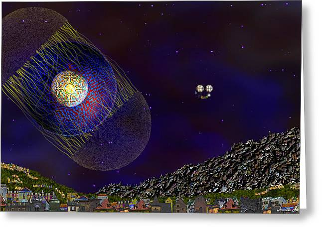 Greeting Card featuring the digital art Stargeist Contact by Iowan Stone-Flowers