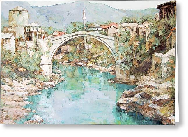 Stari Most Bridge Over The Neretva River In Mostar Bosnia Herzegovina Greeting Card by Joseph Hendrix