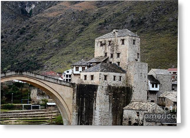 Stari Most Ottoman Bridge And Embankment Fortification Mostar Bosnia Herzegovina Greeting Card