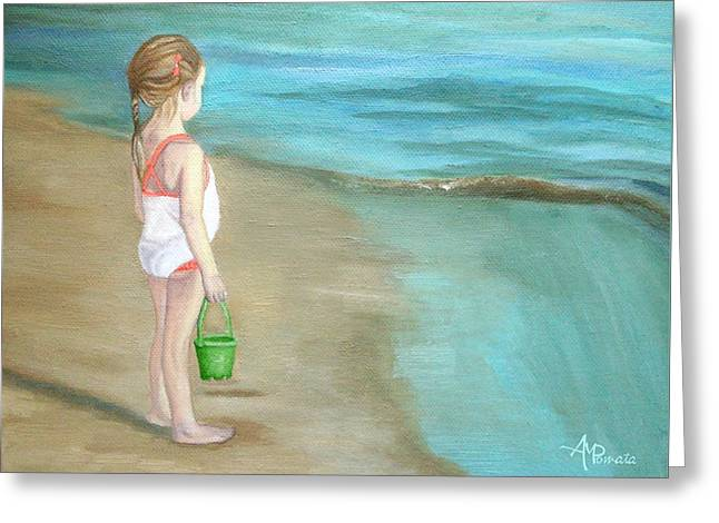 Greeting Card featuring the painting Staring At The Sea by Angeles M Pomata