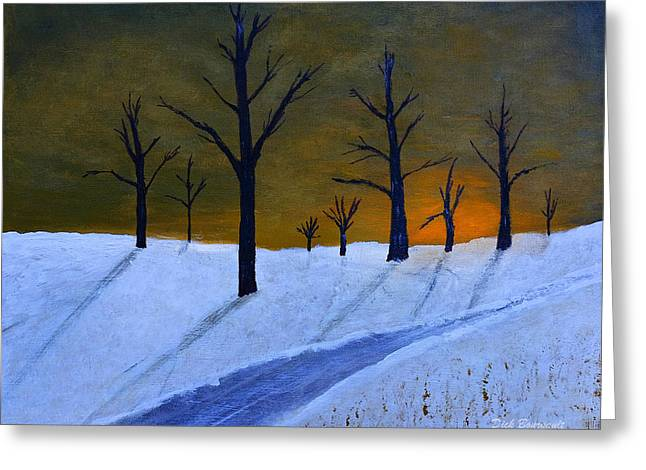Stark Winter Sunset Greeting Card