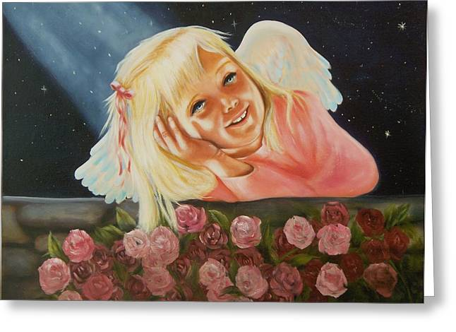 Greeting Card featuring the painting Starlight Angel by Joni McPherson