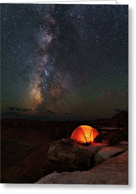 Starlight Camping On The Canyon Edge Greeting Card by Mike Berenson