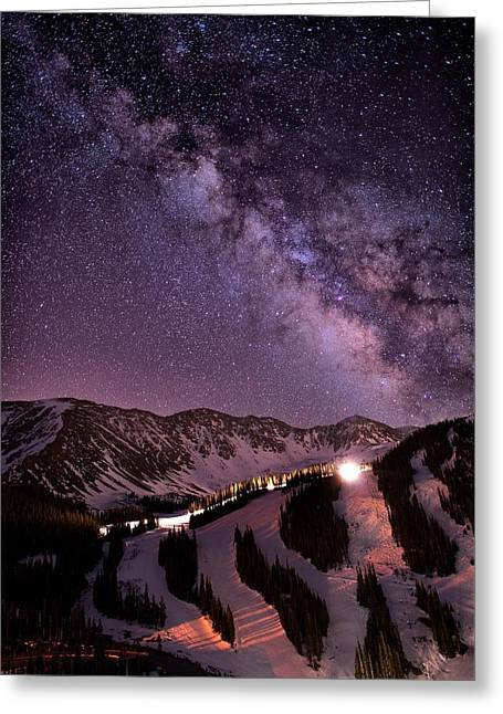 Starlight Mountain Ski Hill Greeting Card by Mike Berenson