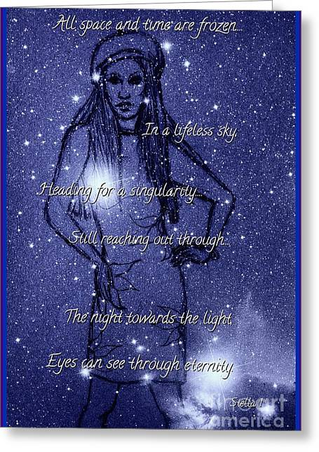 Starlight Of Space And Time 4 Greeting Card by Joan-Violet Stretch