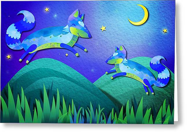 Starlit Foxes Greeting Card