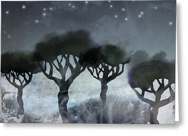Starlit Marsh Greeting Card by Varpu Kronholm
