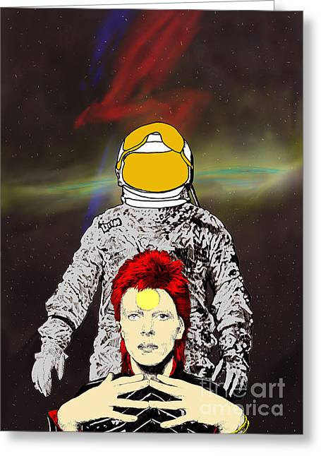 Greeting Card featuring the drawing Starman Bowie by Jason Tricktop Matthews