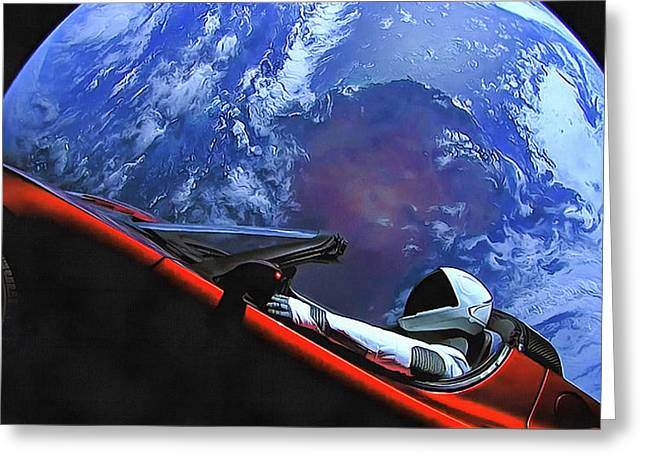 Starman In Tesla With Planet Earth Greeting Card