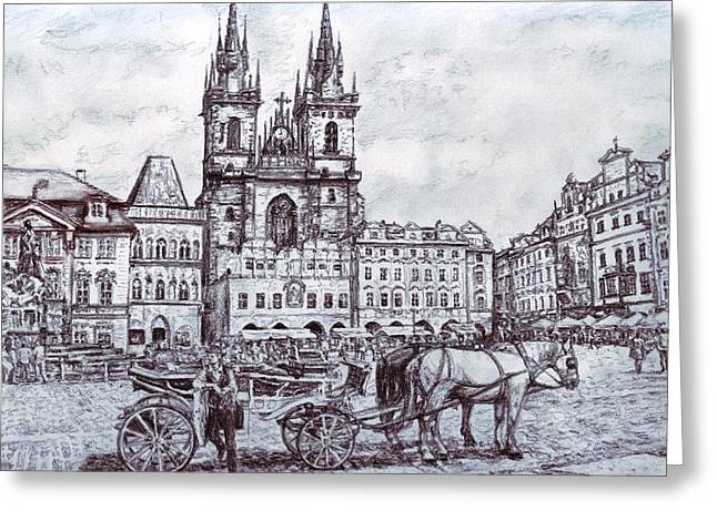 Staromestske Namesti Greeting Card by Gordana Dokic Segedin