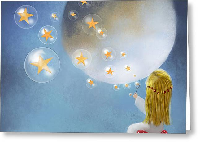 Starry Bubbles By Sannel Larson Greeting Card