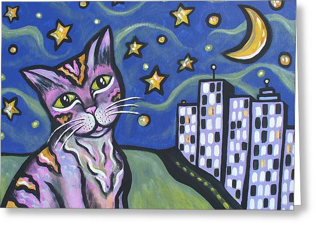 Starry Cat Greeting Card