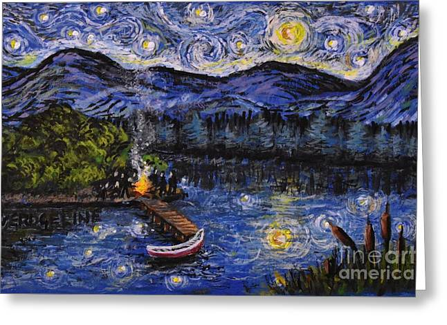 Starry Lake Greeting Card