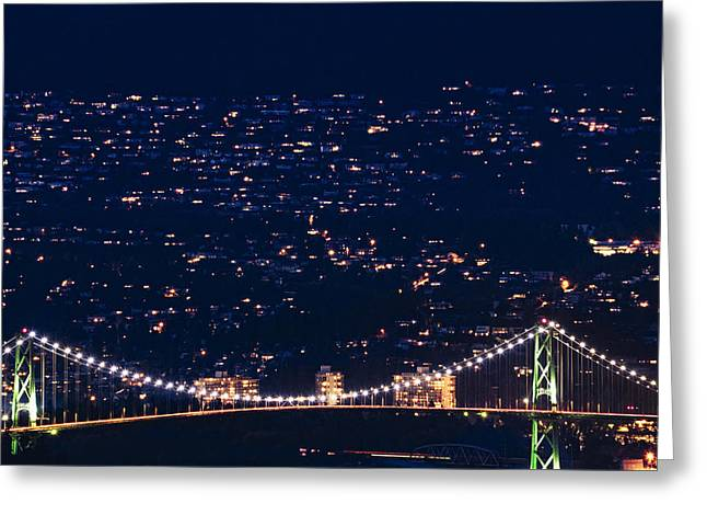 Greeting Card featuring the photograph Starry Lions Gate Bridge - Mdxxxii By Amyn Nasser by Amyn Nasser