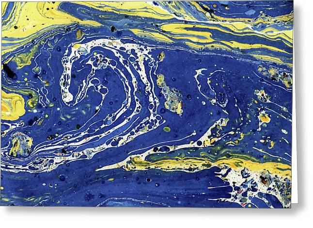 Greeting Card featuring the painting Starry Night Abstract by Menega Sabidussi