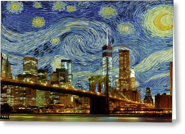 Greeting Card featuring the painting Starry Night Brooklyn Bridge by Movie Poster Prints