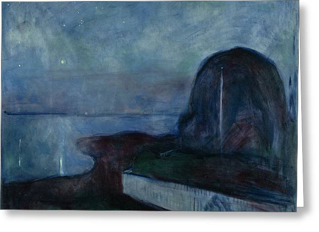 Starry Night By Edvard Munch Greeting Card