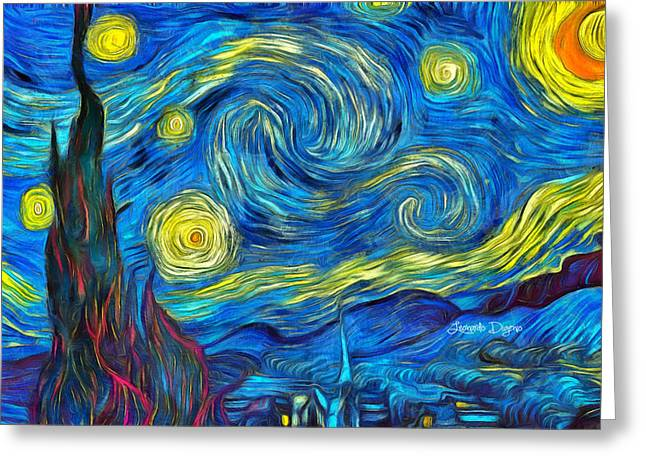 Starry Night By Vincent Van Gogh Revisited Greeting Card by Leonardo Digenio