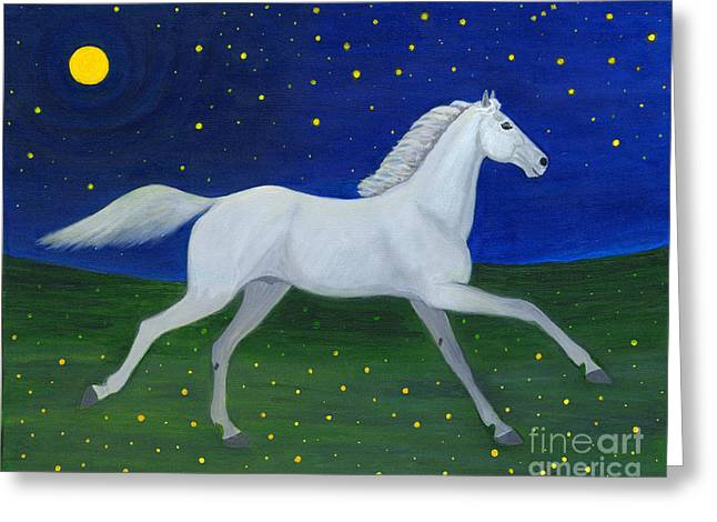 Starry Night In August Greeting Card by Anna Folkartanna Maciejewska-Dyba