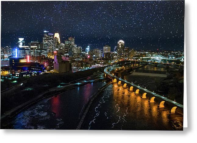 Starry Night In Minneapolis Greeting Card