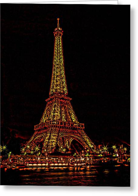 Mike Obrien Greeting Cards - Starry Night In Paris Greeting Card by Mike OBrien
