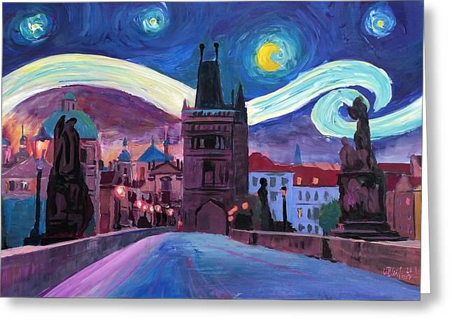 Starry Night In Prague - Van Gogh Inspirations On Charles Bridge Greeting Card by M Bleichner