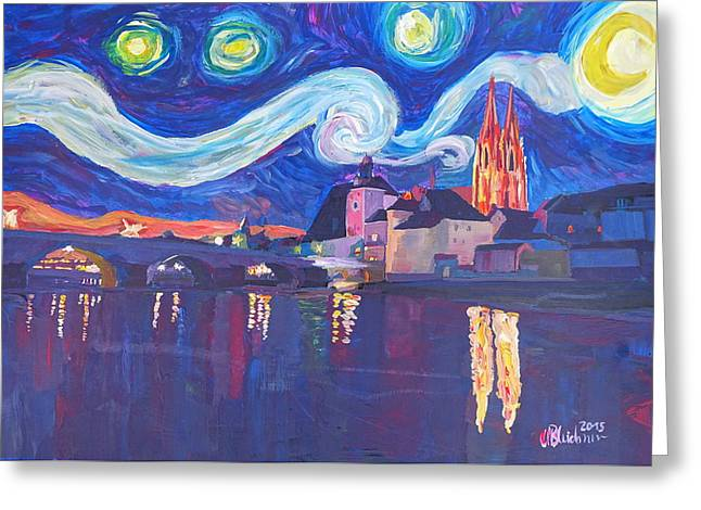 Starry Night In Regensburg  Van Gogh Inspirations On River Danube Greeting Card by M Bleichner