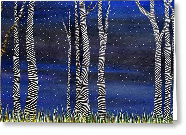 Starry Night In The Zebra Forrest Greeting Card
