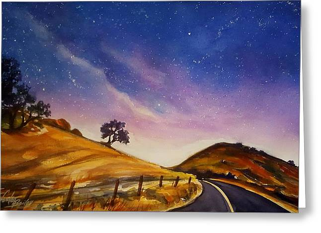 Starry Night On Yokohl Road Greeting Card by Therese Fowler-Bailey