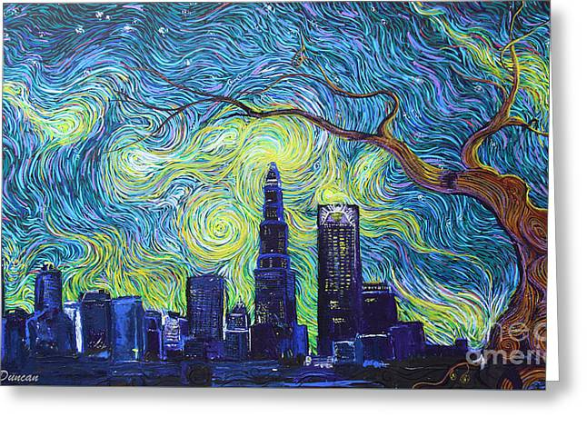 Starry Night Over The Queen City Greeting Card