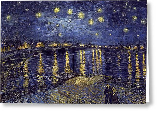 Greeting Card featuring the painting Starry Night Over The Rhone by Van Gogh