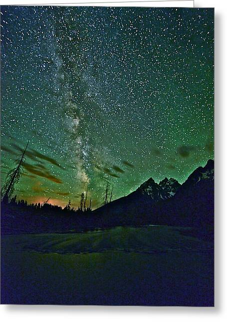 Starry Night Over The Tetons Greeting Card