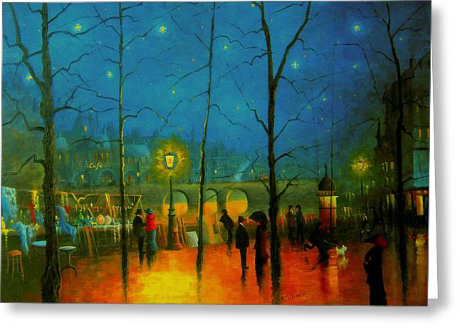 Starry Night Paris Greeting Card by R Gilronan
