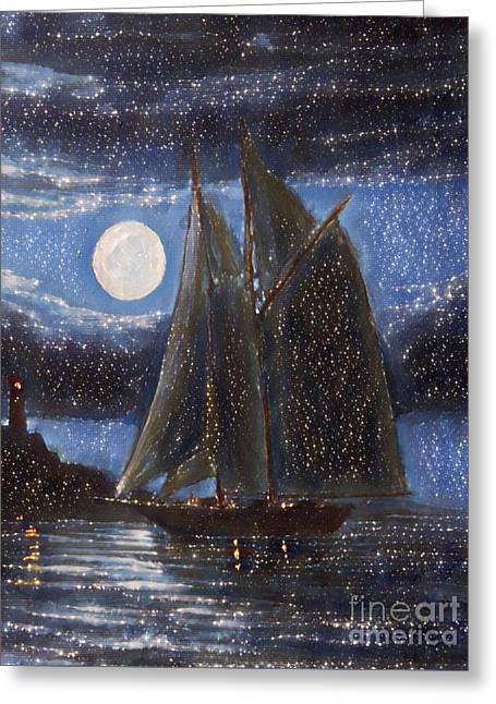 Starry Night Romantic Sail Greeting Card
