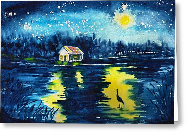 Starry Night Greeting Card by Sharon Mick