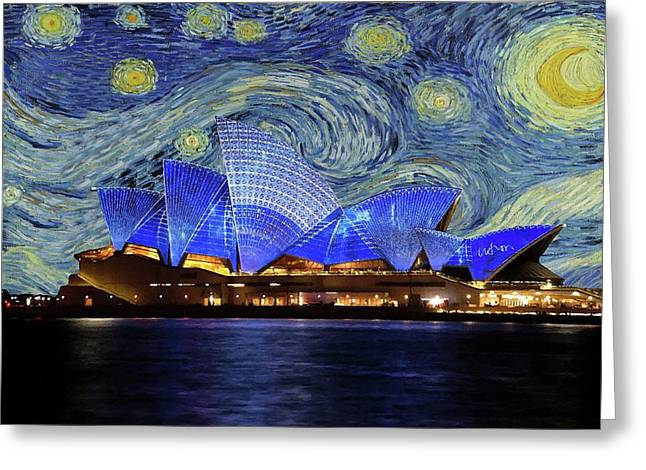 Greeting Card featuring the painting Starry Night Sydney Opera House by Movie Poster Prints