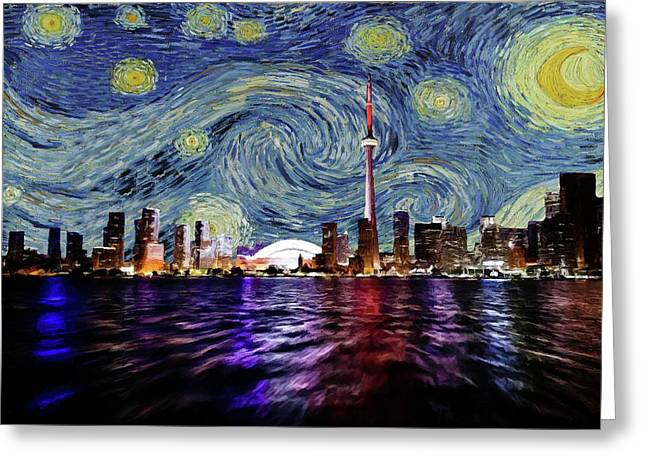 Greeting Card featuring the painting Starry Night Toronto Canada by Movie Poster Prints