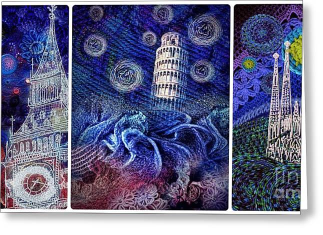 Starry Night Worldwide Triptych Greeting Card