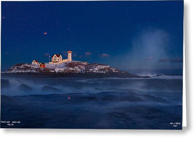 Starry Nubble Lighthouse Greeting Card