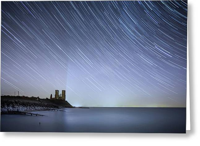 Starry Reculver Greeting Card by Ian Hufton