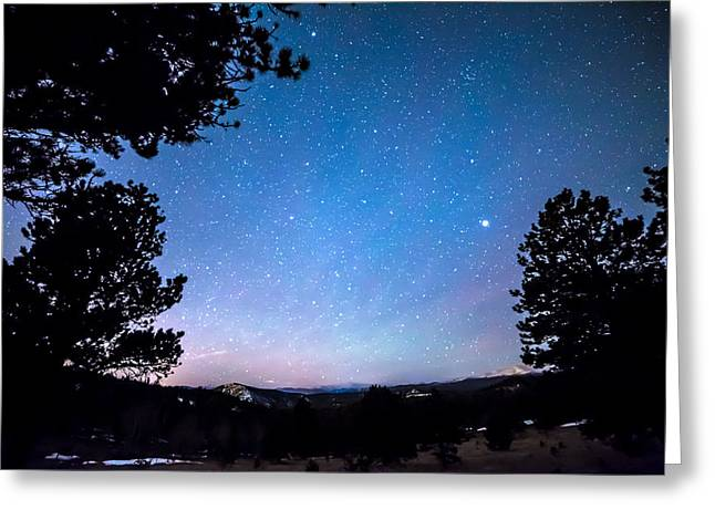 Starry Rocky Mountain Forest Night Greeting Card by James BO Insogna