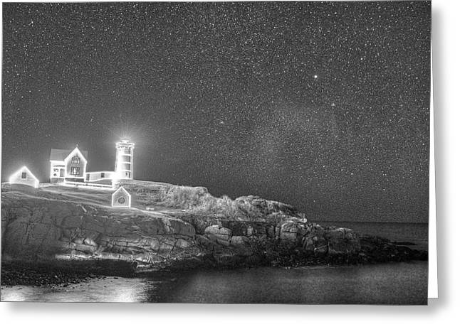 Starry Sky Of The Nubble Light In York Me Cape Neddick Black And White Greeting Card by Toby McGuire