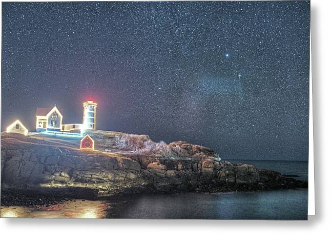 Starry Sky Of The Nubble Light In York Me Cape Neddick Greeting Card