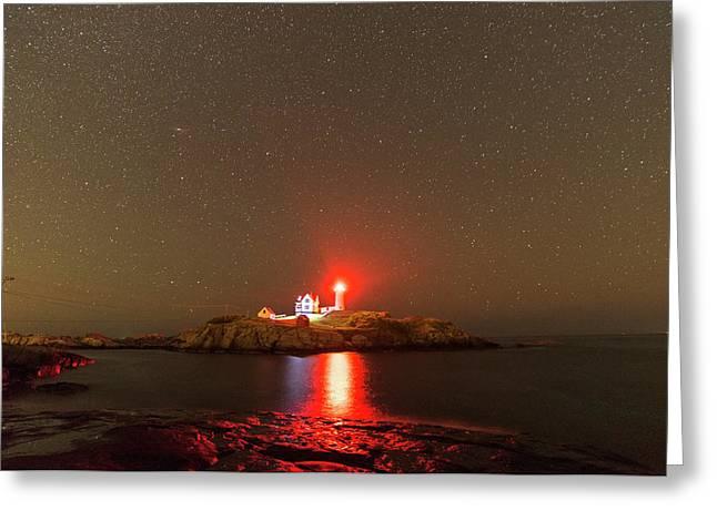 Starry Sky Ove Nubble Light Cape Neddick York Me Red Light Greeting Card